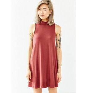 SILENCE + NOISE Mock-Neck Mini Swing Dress
